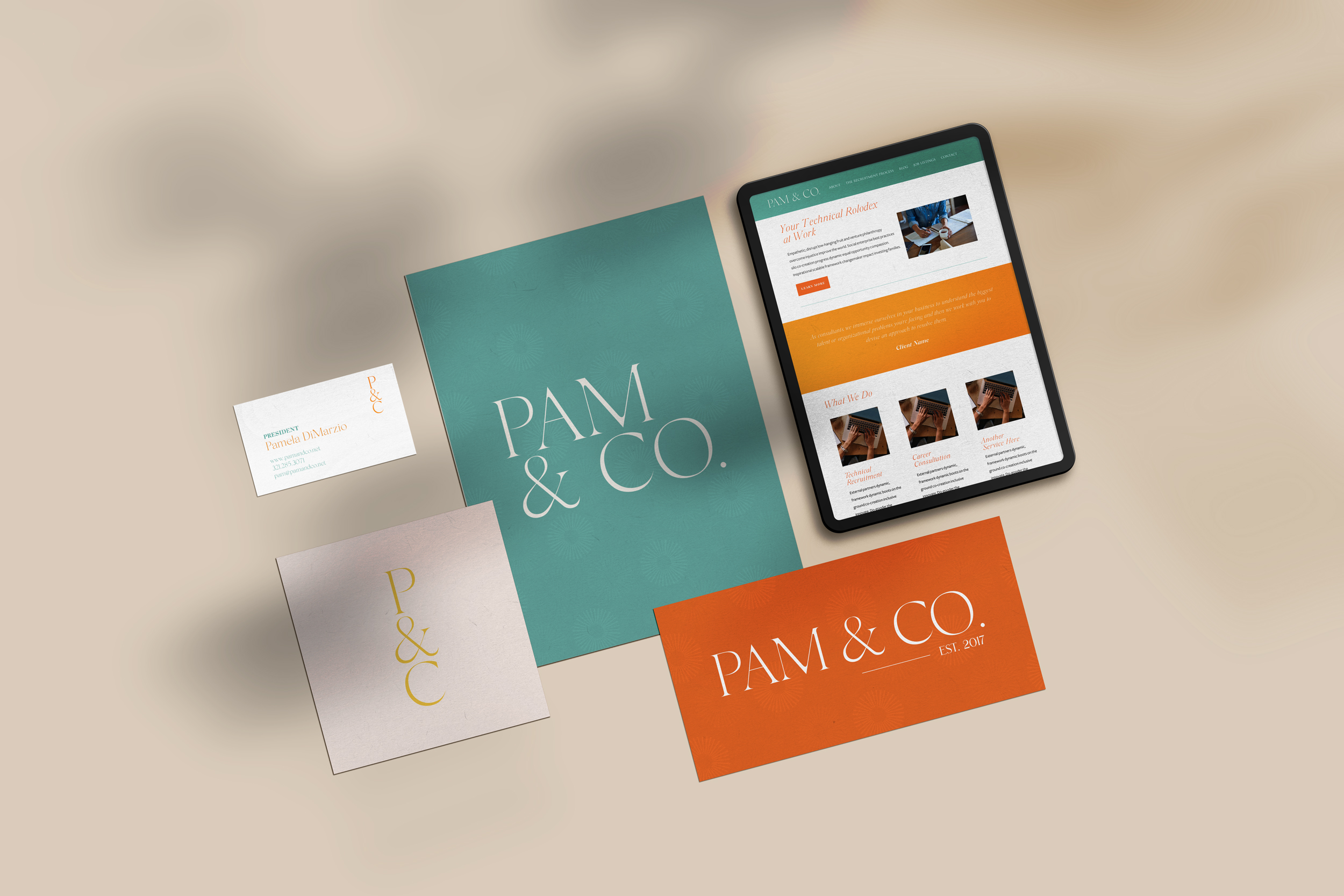 Mockups of Pam & Co print and web designs