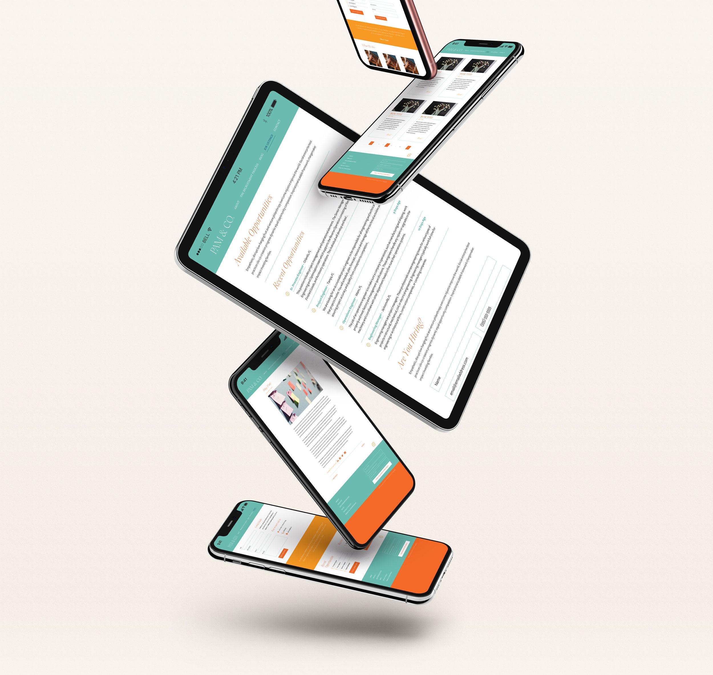 Mockups of the Pam & Co Website Design
