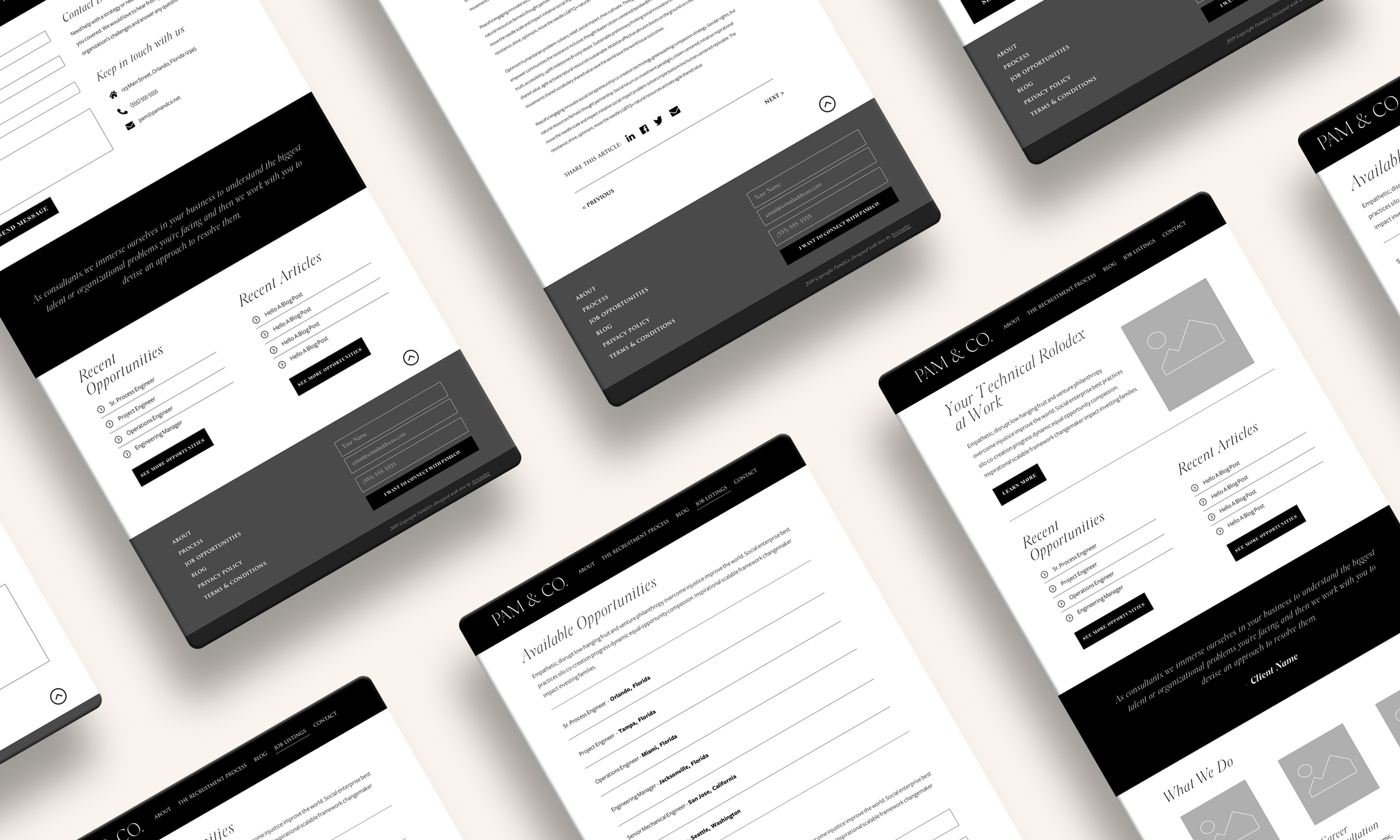 Photo of Pam & Co. Website Wireframes